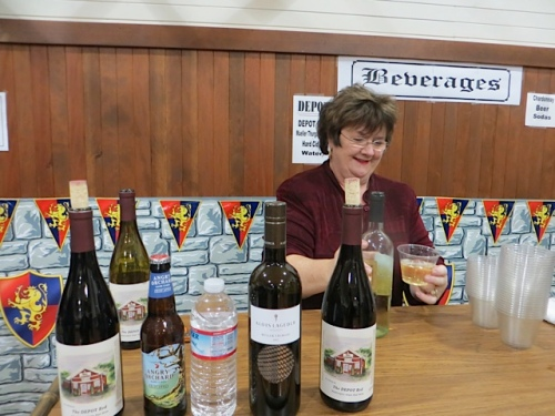 Nancy Gorshe of the Depot serving wine and cider.  No mead!