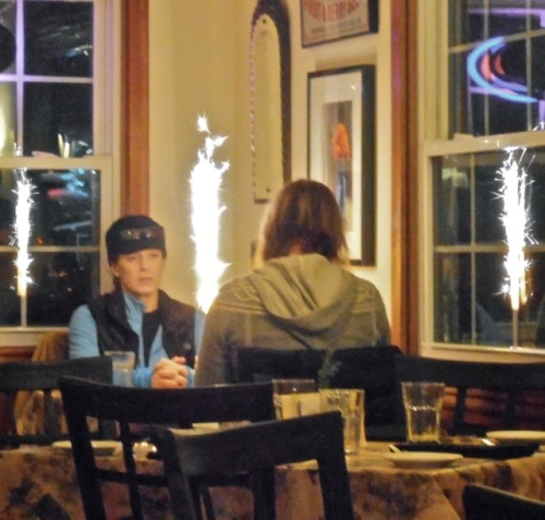 In the corner, a diner got one of the thrilling birthday sparklers that are a feature of the café.
