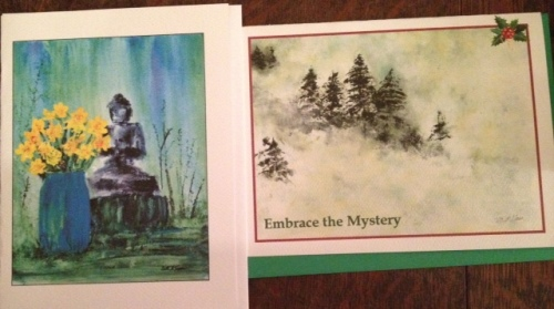 We came away with cards: the back yard Buddha in springtime and the best Christmas card I've ever seen.