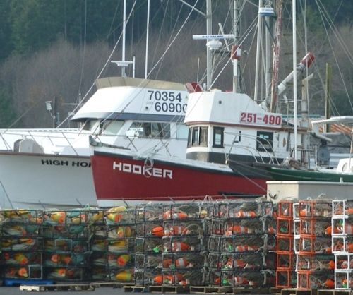 Across the parking lot to the north: crab pots stacked by the boat storage yard.