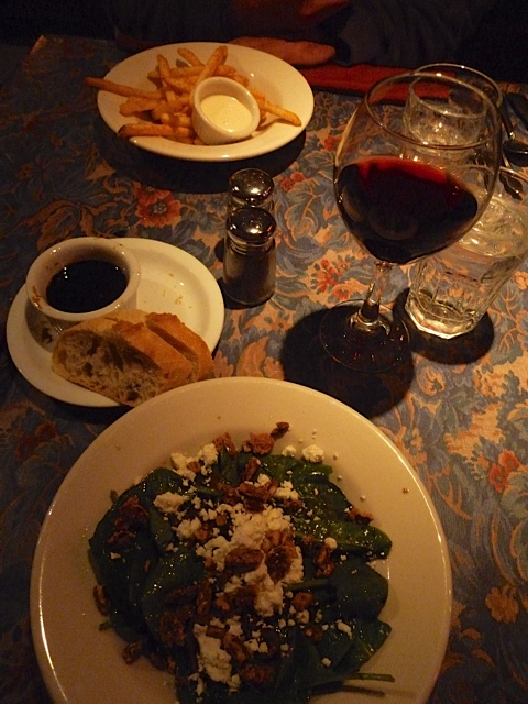 wilted spinach (and kale and cabbage) salad, smoky paprika fries, and a nice glass of pinot noir