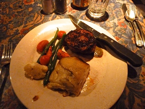 Steak Killian: Chef's Special Cut Chargrilled prime grass fed, hormone free 7 oz Filet Mignon topped with a Charred Green Onion Sauce accompanied by Potato Gratin