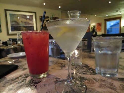 marionberry lemonade and a Vesper (A modern Version of James Bond's Martini) Broker's Gin, Tito's Vodka, Cocchi Americano and a lemon twist…shaken, not stirred.