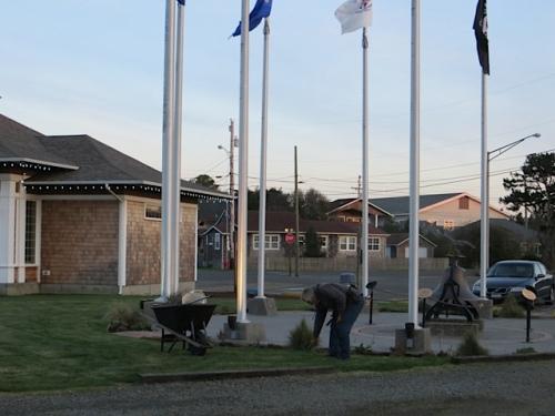 Veterans Field at dusk