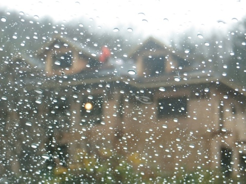 When we got there, the weather was like this...and a worker was on the roof of a new house being built across the road!