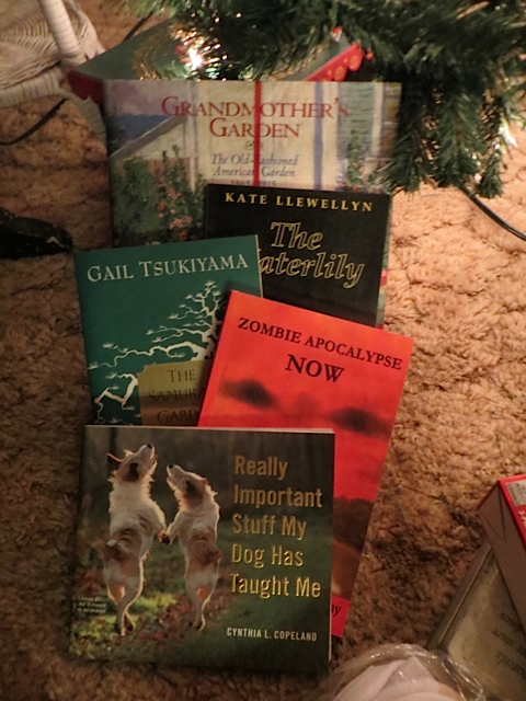 some of the books that came from Allan to me, and from Garden Tour Nancy and from Kathleen.