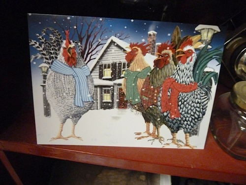 and you can guess whose card had a chicken theme!