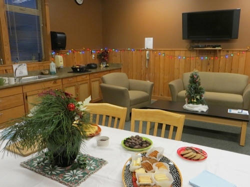 Some cookies, crackers and cheese had been laid out in the student lounge.