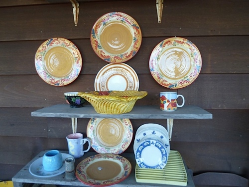 bright display of dishes