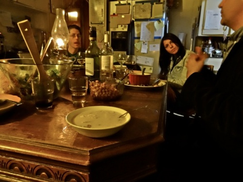 Innkeepers and guests were just finishing their dinner in the lodge kitchen.  (Allan's photo)