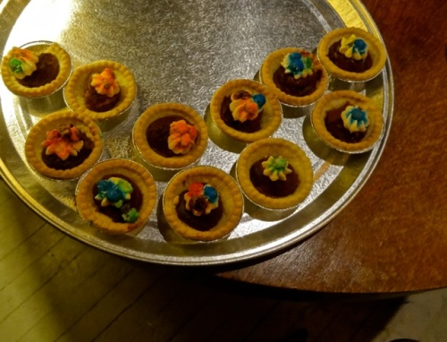 Allan's photo:  We were offered (and accepted) tasty little chocolate tarts.