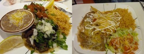 carne asada tacos and chicken enchiladas