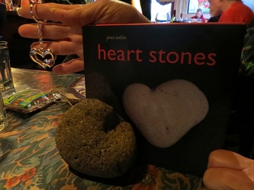 the book, and a daddy rock we recently found, and a heart pendant.