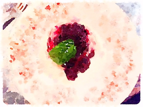 "and J9 had blackberry bread pudding, which cried out to be ""painted in Waterlogue"""