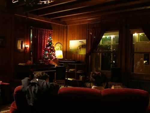in the living room of the lodge
