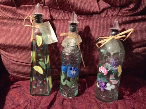 flowered kitchen bottles from Lisa and Buzz