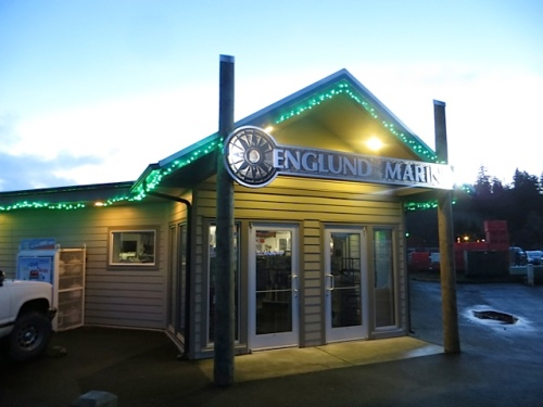 Holiday lights on Englund Marine