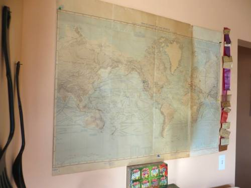 in the entry hallway, a world map
