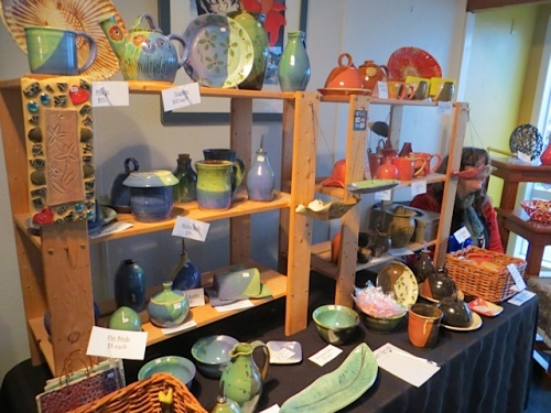 Local potter Karen Brownlee had a booth today.