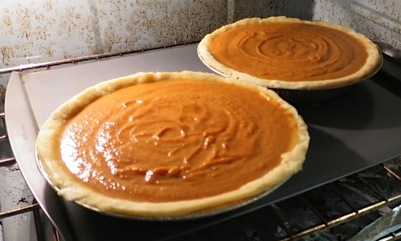 The pie crusts became pumpkin pies.