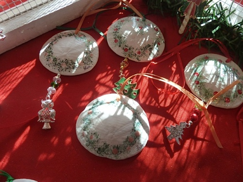 painted sand dollar ornaments by Lisa Gillespie