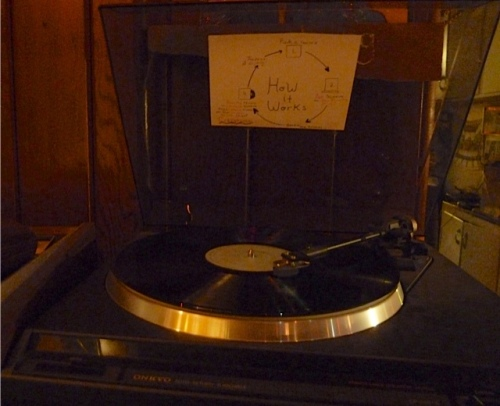 "Allan noticed the ""how it works"" sign on the living room turntable."