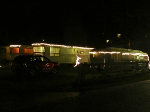 We drove up to the lodge past vintage trailers with holiday lights.