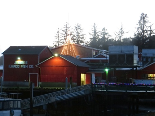 At the west end of Waterfront Way, the star shone over Jessie's Ilwaco Fish Company.