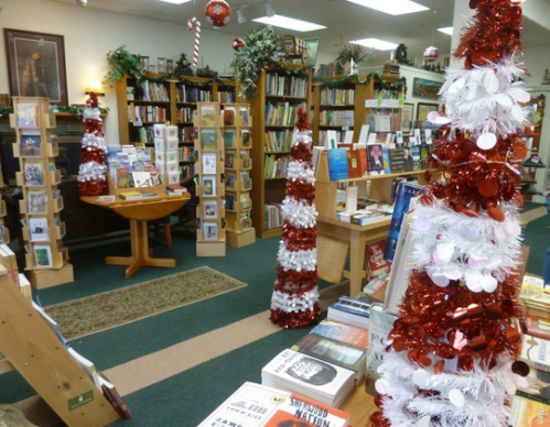 holiday decorations in the bookstore