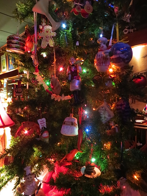 at the end of the bar, the Depot culinary theme Christmas tree