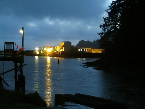 view from the crab pot tree to the southwest and Ilwaco Landing