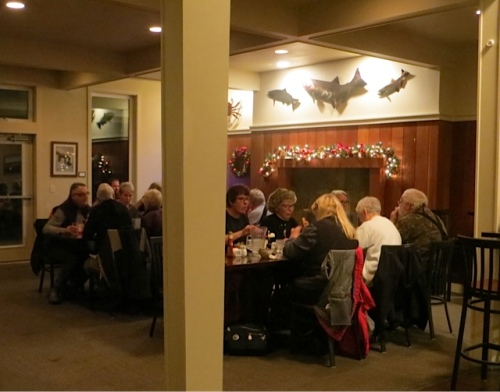 view from our counter seats into the busy dining room