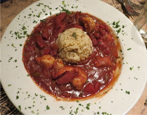 Jambalaya for former New Orleans-er J9: Prawns, Chicken and Andouille Sausage in a spicy stew of tomatoes, onions, celery and peppers seasoned with Tasso ham and served with rice