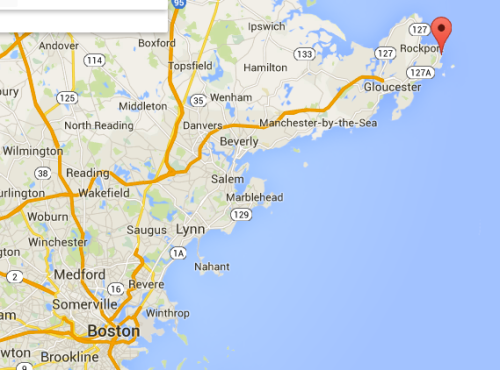 This map shows the area between Boston and Rockport; Sea Harbor would be somewhere along that coastline.
