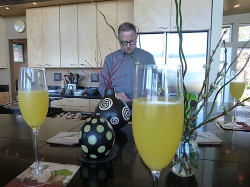 Behind orange mimosas, Steve looks up a plant on his phone.