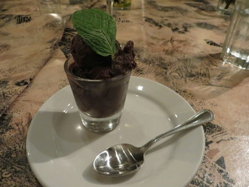 Chocolate Mint Sorbet a miniature dessert for those desiring just at taste of sweetness and chocolate after dinner