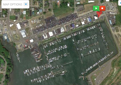The boat launch where Allan went to see the trimaran is in the lower right of this satellite view.