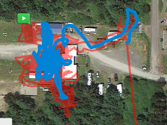 overlaid on satellite view, which is not entirely accurate as we were not inside the roofed buildings.