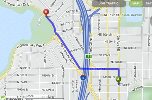 My walk from home: .98 miles