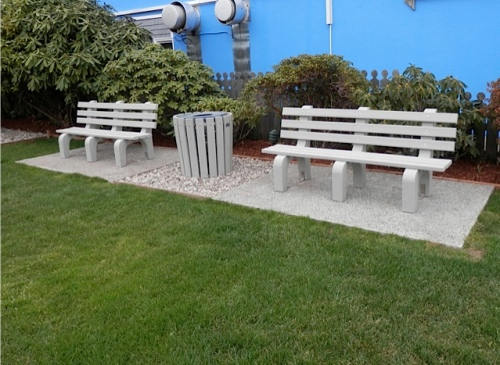 Here are the new benches in Gazebo park for which we pruned back rhododendrons.