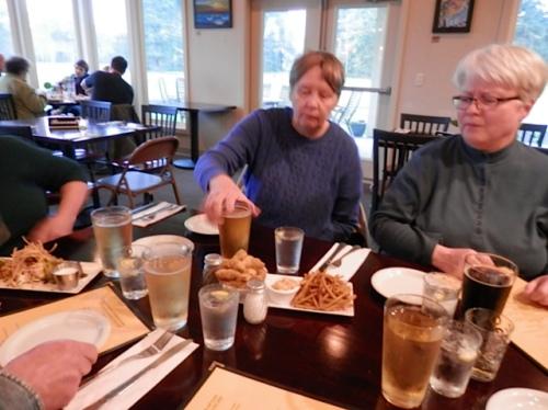 Carol and Kathleen at dinner