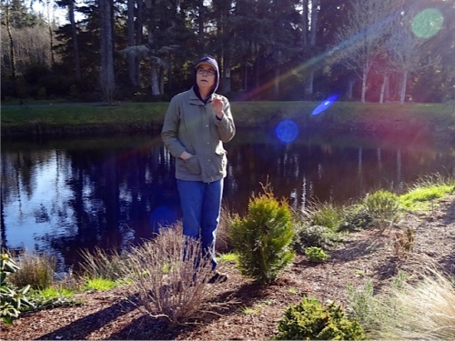 I've admired her Seaside, Oregon gardens for so long that I sort of see her like this, an image captured by Allan.