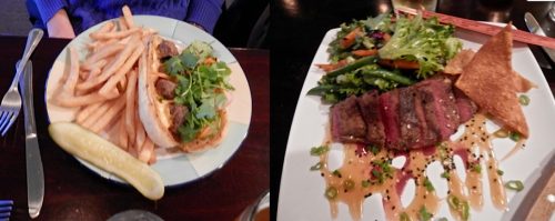 Carol's bahn mi sandwich, my steak salad