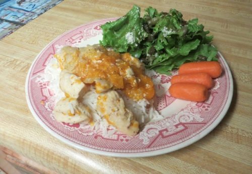 Allan, inspired the the orange beef that Steve recently served us for lunch, made a tasty orange chicken dish.