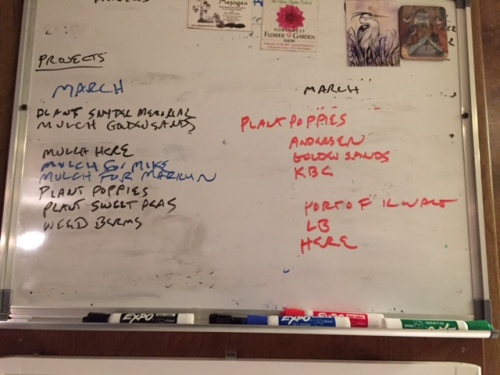 The new work list, with poppy planting jobs
