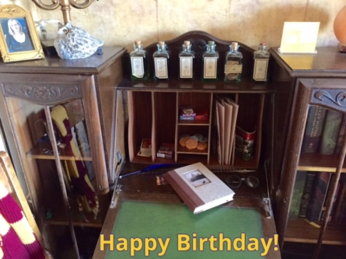I made her a Harry Potter birthday picture from the JK Rowling room at the Sylvia Beach Hotel.