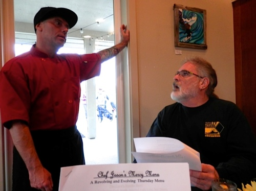 Chef jason Lancaster and Boreas Bill discuss the menu.