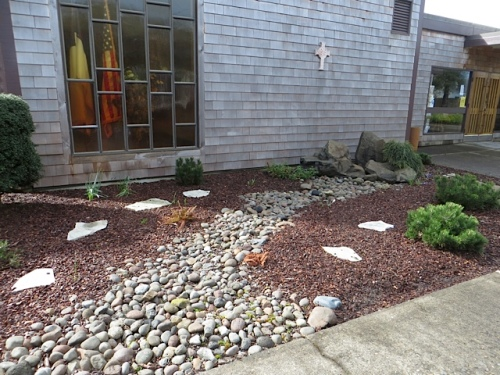 Empty Bowls is held at the Peninsula Church Center, which has a tidy garden outside.