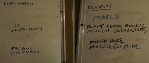 left: I got to cross two jobs of the work list tonight!  right: The March schedule is already filling up.