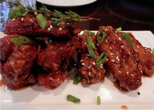 spicy chicken wing appetizer for the table (two each)